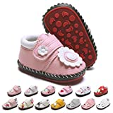 Baby Boys Girls Walking Sneakers Pu Leather Rubber Hard Sole Cartoon Infant Slippers Toddler First Walkers Crib Shoes (0-6 Months M US Infant,B-Pink)