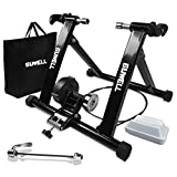 GUWELL Bike Trainer Stand with 100 Speed Choices, Fluid Bike Trainer Stand for Indoor Riding, Bicycle Exercise Stand with megnetic CVT, Front Wheel Riser Block, Noise Reduction, Bonus Package Bag