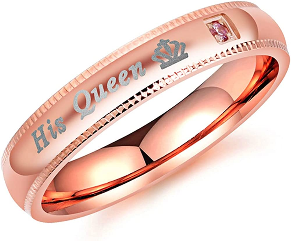 Stainless Steel His Queen Her King Couple Lovers Wedding Promise Statement Anniversary Ring