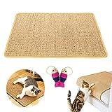 BOW CALICO Katzenkratzmatte Sisal,Kratzmatte für Katzen,Langlebige Rutschhemmende Sisal-Matte,Geeignet für Fußbodenheizung, Schützt Teppiche und Sofas(60 x 40 cm)