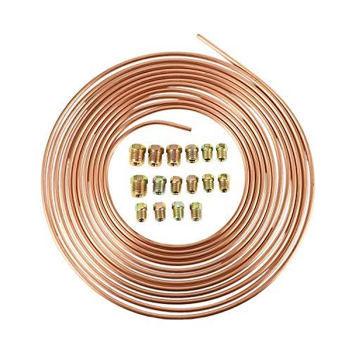 Bopfimer Bobina de tubo de 7,62 m, de cobre y níquel con un tubo Auuen, diámetro de 3/16 pulgadas