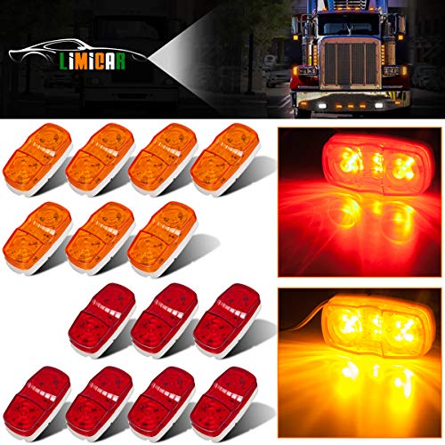 LIMICAR 14PCS Trailer Marker LED 12 Diodes Clearance Light Double Bullseye 7 Red 7 Amber Oval Oblong Side Marker Light Lamps