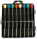 Mini Schraubenzieher Set, magnetisch, für Präzisionsreparaturen mit gehärteter Spitze geeignet für Handy, Laptop, PC, Brillen, Uhren und vieles mehr (8 teilig) (schwarz)