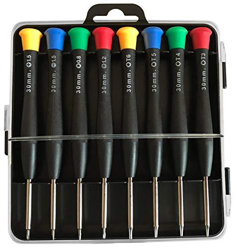 Juego de mini destornilladores magnéticos, para reparaciones de precisión con punta endurecida, adecuado para teléfono móvil, ordenador portátil, PC, gafas, relojes y mucho más (8 piezas) (negro)