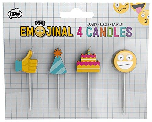 NPW Emoticon Geburtstag Kuchen Kerzen–Pack of 4Kerzen Get emojinal