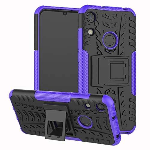 Labanema Huawei Y6 2019 /Honor 8A Case, Heavy Duty Shock Proof Rugged Cover Dual Layer Armor Combo Protective Hard Case Cover for Huawei Y6 2019 /Honor 8A /Y6 Prime 2019 - Purple