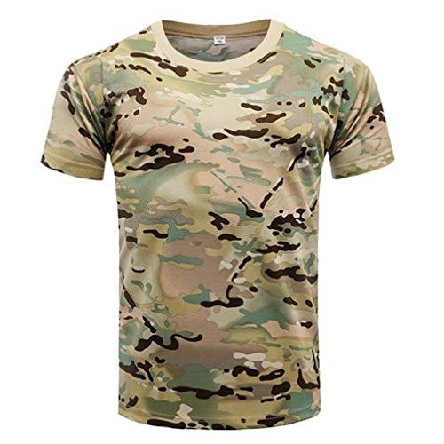 Combate de Secado rápido Camiseta Militares del Ejército T Shirt Aire Libre de Camo de excursión la Caza Camisas CP Camuflaje Camuflaje táctico XXL La Camisa de Manga Corta de los Hombres de