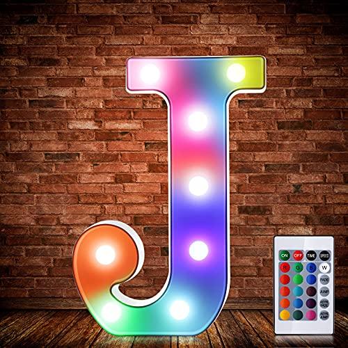Luces de Símbolo de Número Letra Alfabeto LED Iluminado Colorido con Interruptor de Control Remoto Inalámbrico Lámpara Decorativa de Corazón para Boda San Valentín Navidad (Letra J)