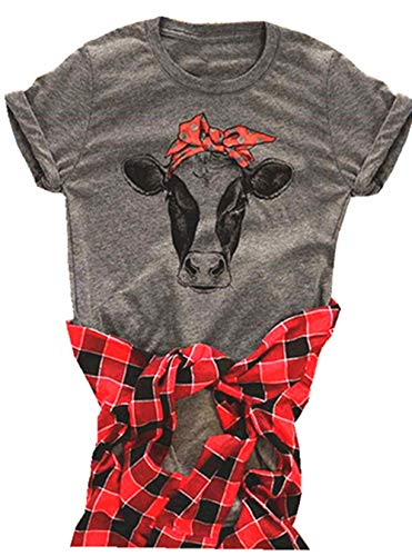 Cow Shirt Women Funny Cute Printed Graphic Tee Summer Loose Casual Short Sleeve Tops Size Large (Grey)