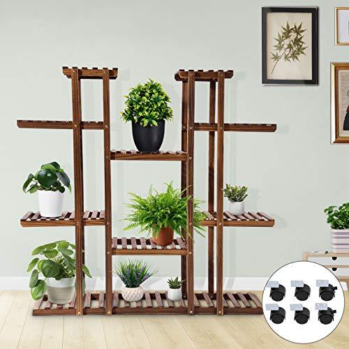 Kaigelu888 Soporte para Plantas, Estantería Decorativa Macetas com 6 Ruedas, Estanteria Madera para Plantas para Exterior Interior, Sala, Dormitorio, balcón y jardín, 120x116x25cm