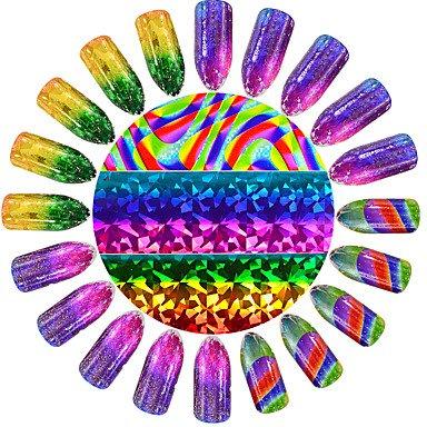 MZP Mode coloré Ongles Autocollant ciel étoilé Glitter Galaxie en verre cassée Décoration de beauté