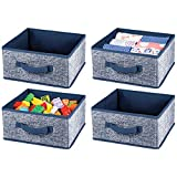 mDesign Soft Fabric Modular Closet Organizer Box with Handle for Cube Storage Units in Closet, Bedroom to Hold Clothing, T-Shirts, Leggings, Accessories - Textured Print, 4 Pack - Navy Blue