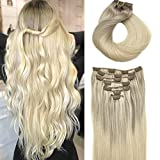 Remy Human Hair Extensions Clip in hotbanana 120g Ombre Ash Brown to Golden Blonde and Platinum Blonde Real Hair Extensions Natural Clip in Hair Extensions Straight Thick Clip Extensions 22 Inch 7pcs