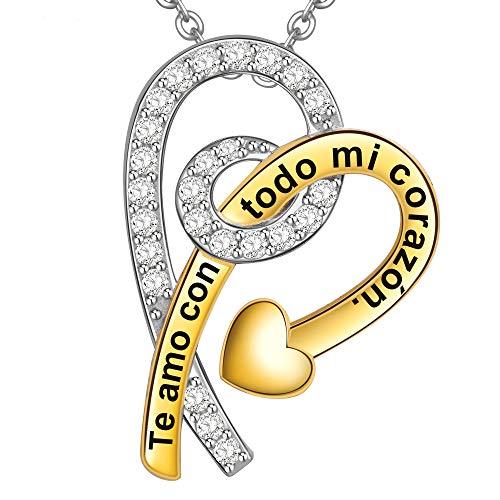 Collar Mujer Grabado Plata de Ley 925 Colgante Flecha de Cupido Corazón Regalo Amor Esposa Novia