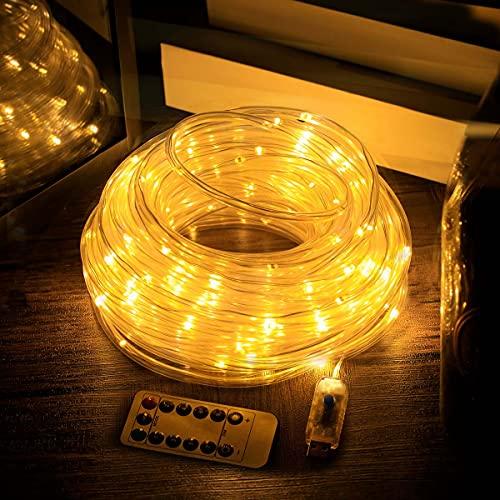 STARKER LED Lichterschlauch außen,USB Lichterkette Terrassenbeleuchtung 100 LED mit Fernbedienung 8 Modi Dimmbare Wasserdicht Lichterketten für Außen Handlauf Leitplanke Garten Balkon(10m)