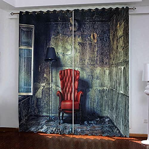 Gabapipa Cortina y Cenefa 2 Piezas Abandonado habitación sofá lámpara de pie 75x166cm Cortinas Opacas De Salón Dormitorio para Dormitorio Infantil Proteccion Intimidad