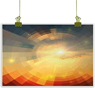 Mannwarehouse Abstract Chinese Classical Oil Painting Sunrise Sunbeams with Clear Sky Horizon Vector Image in Pixels Mosaic Artwork for Living Room Bedroom Hallway Office 24