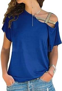 UUYUK Women's Regular-Fit Short Sleeve Summer Shirt Blouse Shoulder Oblique
