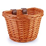 YMhoart Kid's Front Handlebar Bike Basket Girl's Detachable Woven Bicycle Basket for Children Gift Little Boys Balance Tricycle for Women Wicker Round Electric Bike Basket for Ladies(Orange)
