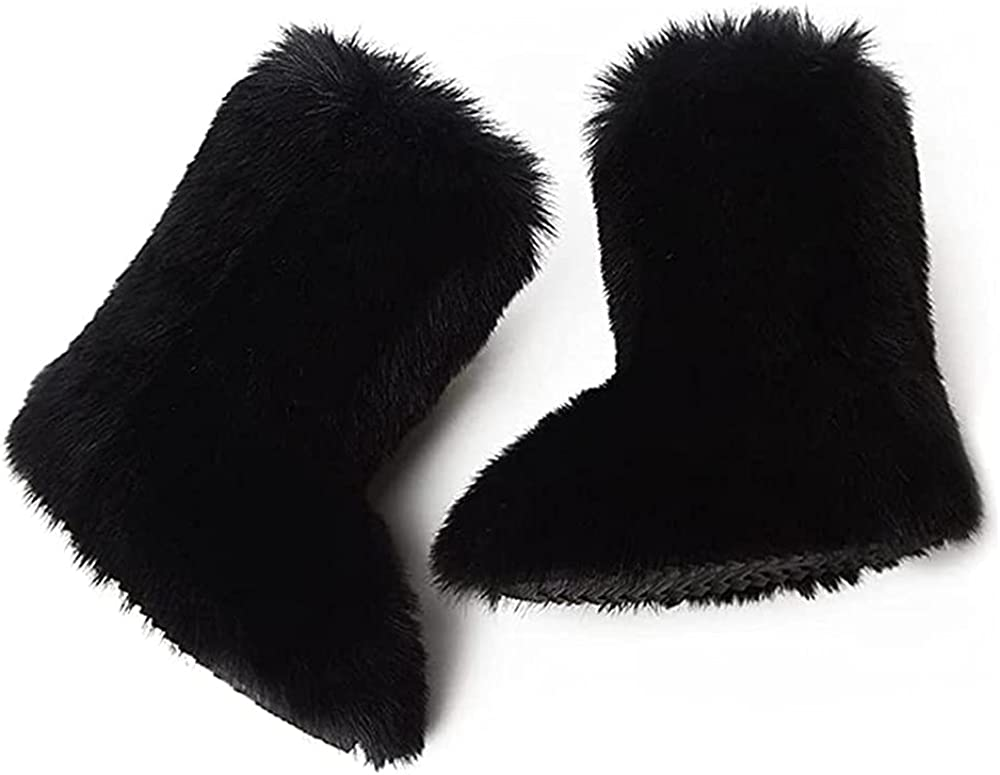 LanXi Faux Fur Boots for Women Fuzzy Fluffy Furry Round Toe Suede Winter Comfortable Plush Warm Short Snow Bootie Flat Shoes Mid-Calf Boots Outdoor Indoor