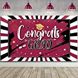 2021 Graduation Decorations Party Backdrop Large Banner for Class, Grad Photography Background Congrats Sign Graduation Favors Supplies and Prom Booth Indoor Outdoor (Maroon)