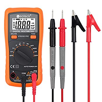 Neoteck Auto Ranging Digital Multimeter AC/DC Voltage Current Ohm Capacitance Frequency Diode Transistor Audible Continuity Multi Tester with Backlit LCD