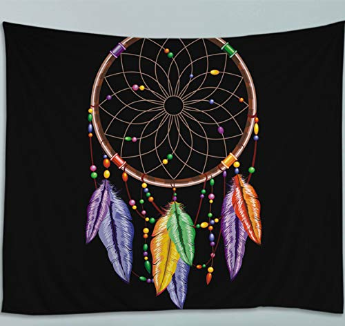 Amiiba Dreamcatcher Wall Tapestry Colored Feathers Tapestry Wall Hanging Mandala Hippie Home Decoration for Bedroom Living Room (Dreamcatcher, M - 59'x51')