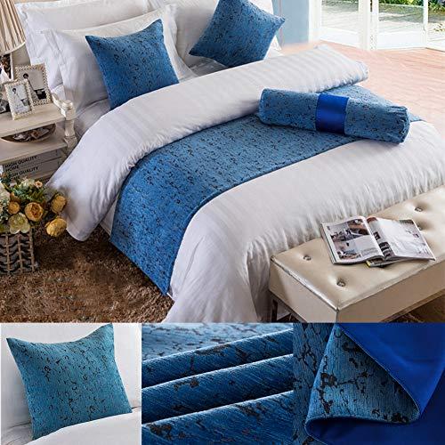 Twelve Soild - Bufanda para cama de matrimonio, color azul