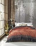 Belle Living Artemis Tagesdecke Überwurf Decke - Wohndecke hochwertig - perfekt für Bett & Sofa, 100prozent Baumwolle - handgefertigte Fransen, 200x250cm (Orange)