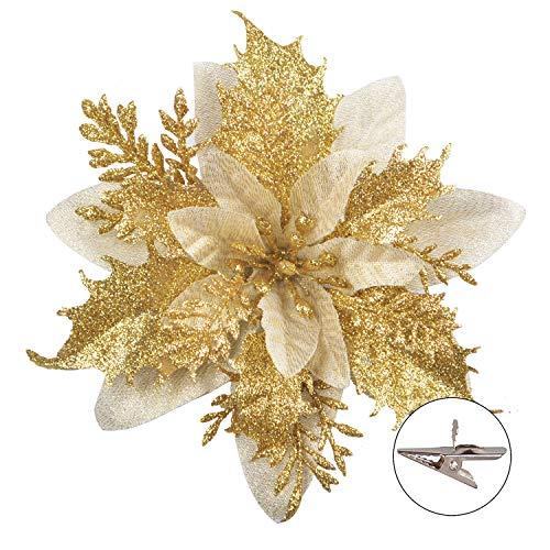 GL-Turelfies - Flores de Navidad con purpurina (15 cm) con 12 clips, flores artificiales de Pascua, adornos para árbol de Navidad, 12 unidades