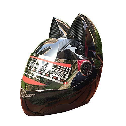 Sunzy Frauen Motorradhelm Vier Jahreszeiten universelle Persönlichkeit leichte Schwarze Flip Full Face Motocross-Helm mit Katzenohren Dekoration abnehmbar,XL