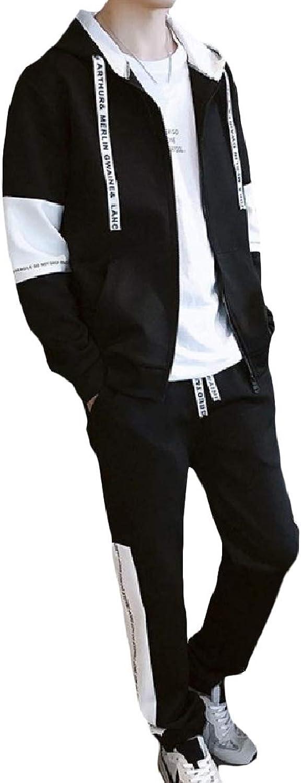 Abetteric Mens Stitch Drawstring Zip Pocket Two Piece Hood Sport Sweat Suit Set