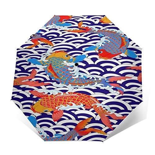 TISAGUER Paraguas automático de Apertura/Cierre,Imagen de Estilo japonés,Carpa Ondas Azules Blancas,Paraguas pequeño...
