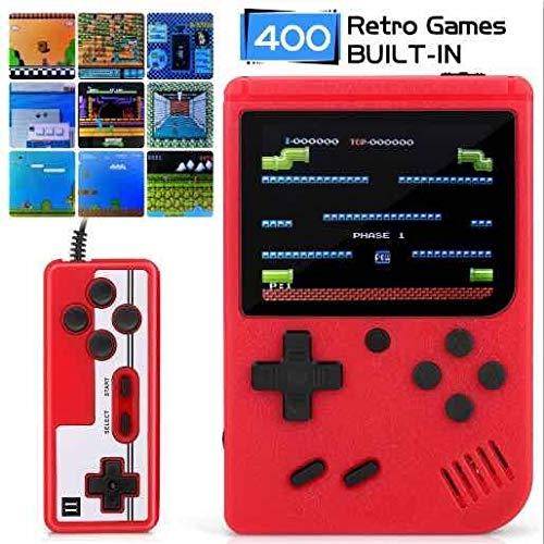 iAmer Consola de Juegos Portátil Versión Mejorada,400 Juegos Retro Consola con 3 Pulgadas Pantalla a Color Soporte Dos Jugadores y Conexiónde TV,Regalo para los niños y Adultos