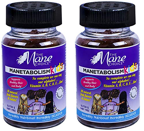 THE MANE CHOICE MANETABOLISM Kids Healthy Hair Growth Vitamins - Complete Nutrition Supplements for Longer, Thicker and Healthier Hair for Kids (60 Gummies) (Pack of 2)
