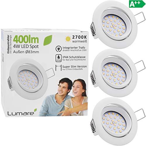 3x Lumare LED Einbaustrahler 4W 400 Lumen IP44 nur 27mm extra flach Einbautiefe LED Leuchtmodul austauschbar Deckenspot AC 230V 120° Deckenlampe Einbauspot warmweiß weiß rund Badezimmer