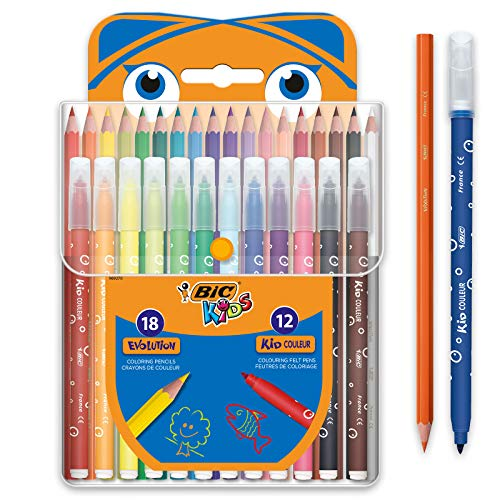 Kit BIC Kids 18 Lápices de colores + 12 Rotuladores
