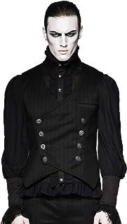 Punk Rave Men's Gothic Black Stripe Double-Breasted Waistcoat Steampunk Aristocrat VTG Victorian Dress Vest