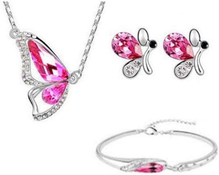 LFOEwpp7 Fashion Jewelry Set, Butterfly Rhinestone Pendant Necklace Stud Earrings Bracelet Bridal Rose Red