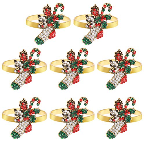 8 Pieces Xmas Napkin Rings Christmas Napkin Holder Rings for Christmas Holiday Party Dinner Wedding Banquet Dinning Table Settings Decoration