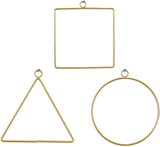 DILNAZ ART 3 Pcs Iron Art Wreath Hanging Hoop Frame Ring Set, Handmade DIY Metal Geometric Wall Garland Hanging Basket Rin...
