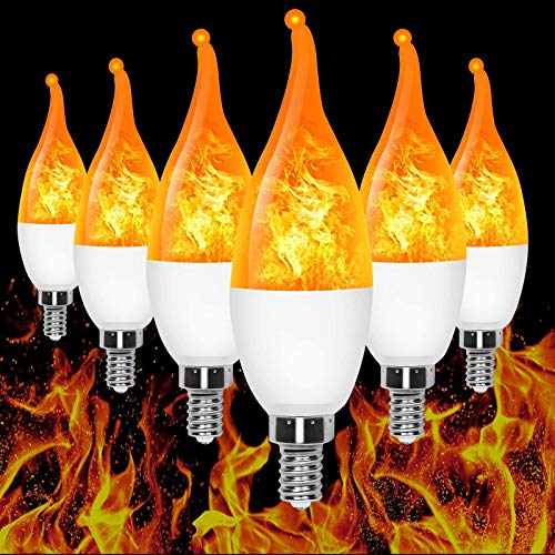 E12 Flame Bulb LED Candelabra Flame Bulbs,1.2 Watt Warm White LED Chandelier Bulbs for Halloween Decorations/Festival/Hotel/Bar Party Decoration (6 Pack)
