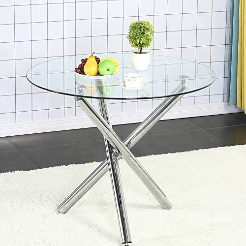 SICOTAS Round Dining Table, Modern Kitchen Table for Dining Room Clear Tempered Glass Table