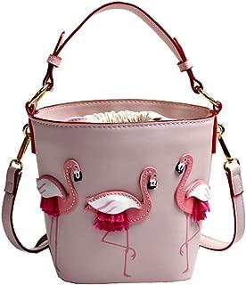 Small Flamingo Drawstring Bucket Shoulder Bag Barrel Shaped Tote Handbag for Womens Girls