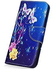 JAWSEU Funda Compatible con Note 7, PU Cuero Flip Libro Billetera Tapa Carcasa con Diseño Soporte Plegable Cierre Magnético Ranura para Tarjetas Antigolpes Protectora Funda,Mariposa-6