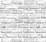 White Gray Brick Wallpaper Grey Self-Adhesive Wallpaper Home Decoration Peel and Stick Backsplash Wall Panel Door Stickers Christmas Decor (45cmx300cm,17.7' x 118') (White Brick)