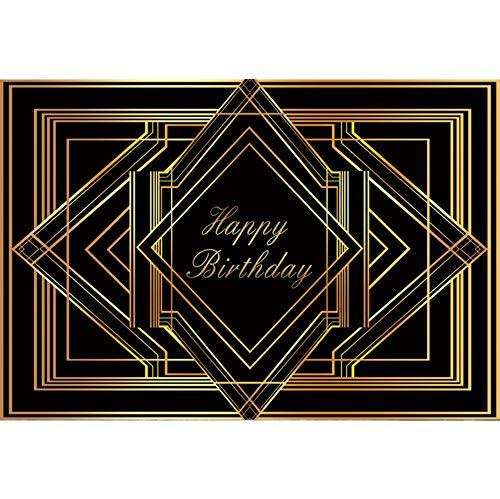 YongFoto 3x2m Vinyl Geburtstag Foto Hintergrund der große Gatsby Alles Gute zum Geburtstag Art Deco Gold Black Frames Fotografie Hintergrund Partydekoration Fotostudio Hintergründe Fotoshooting