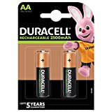 Duracell Rechargeable AA 2500mAh Batteries, Pack of 2