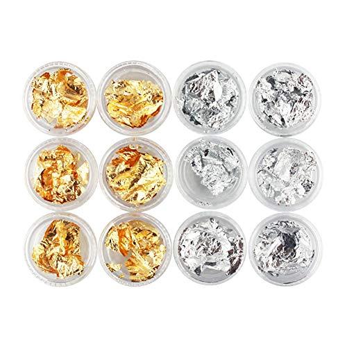 Happyhouse009 Lot de 12 Autocollants pour Ongles en Acrylique et Gel UV Doré, Sticker, Gold and Silver