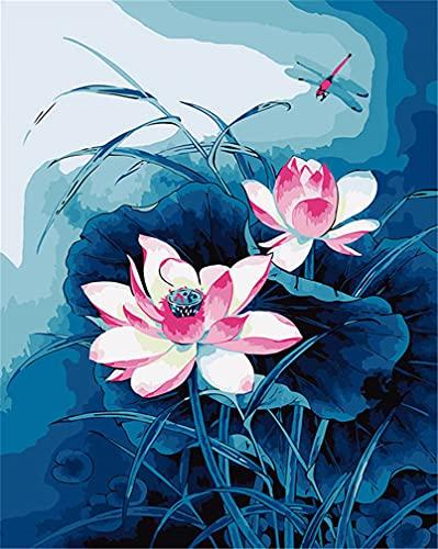 Kit de pintura por números, Amiiba libélula y flor de loto 40,6 x 50,8 cm pintura acrílica por número Wall Art Crafts (Lotus estanque, sin marco)
